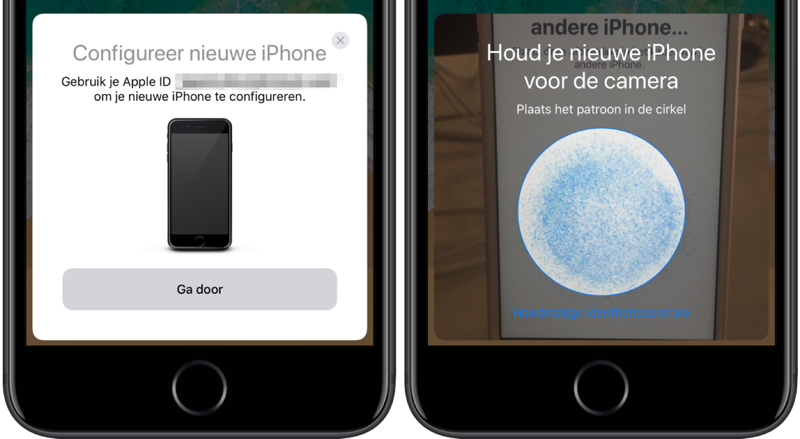 iPhone instellen via Begin direct en de code scannen.
