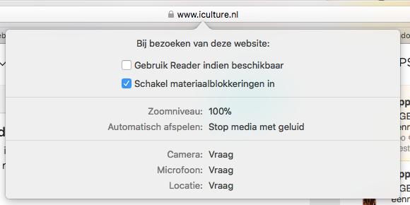 Safari-Instellingen voor een website.