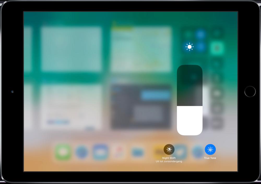 TrueTone via het Bedieningspaneel op de iPad.