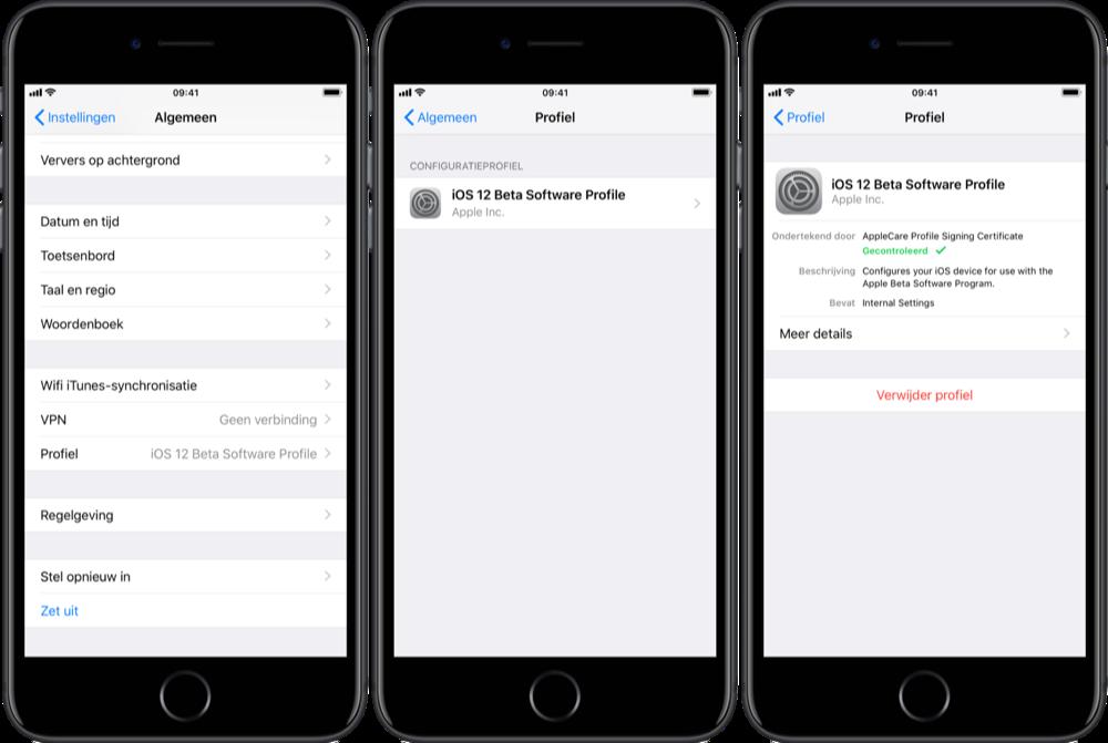 iOS-betaprofiel verwijderen.