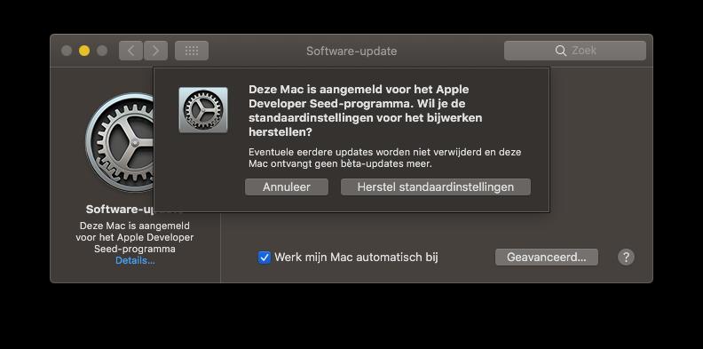 Afmelden macOS beta.