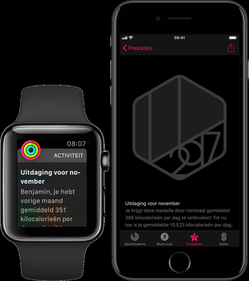 Persoonlijke uitdaging op iPhone en Apple Watch.