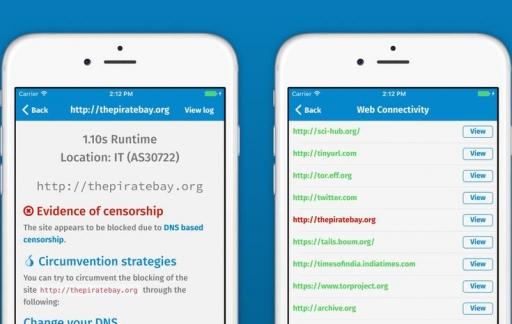 Tor OONI-app meet geblokkeerde websites