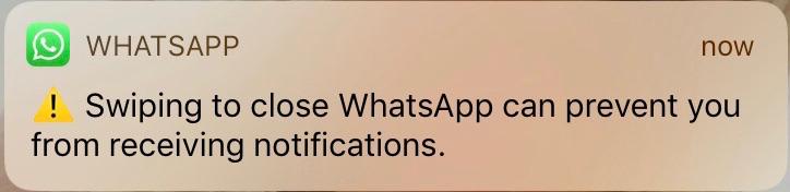 WhatsApp melding afsluiten.