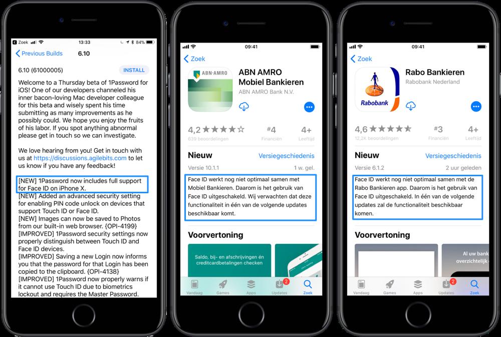 Face ID ondersteuning in apps zoals ABN AMRO, Rabobank en 1Password.