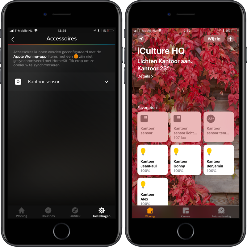 Hue Motion met HomeKit en temperatuur.