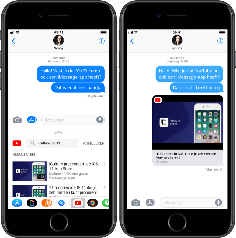 YouTube in iMessage zoeken en versturen.