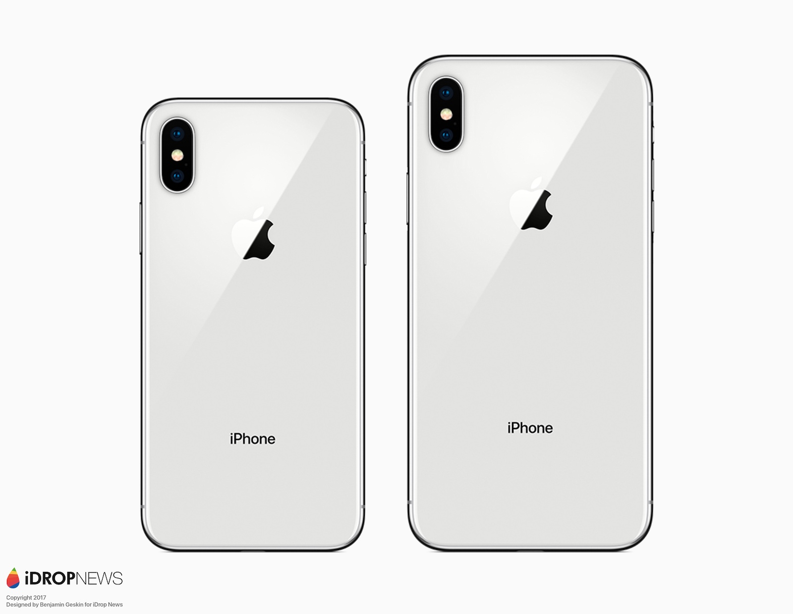 iPhone X Plus in render van de achterkant.