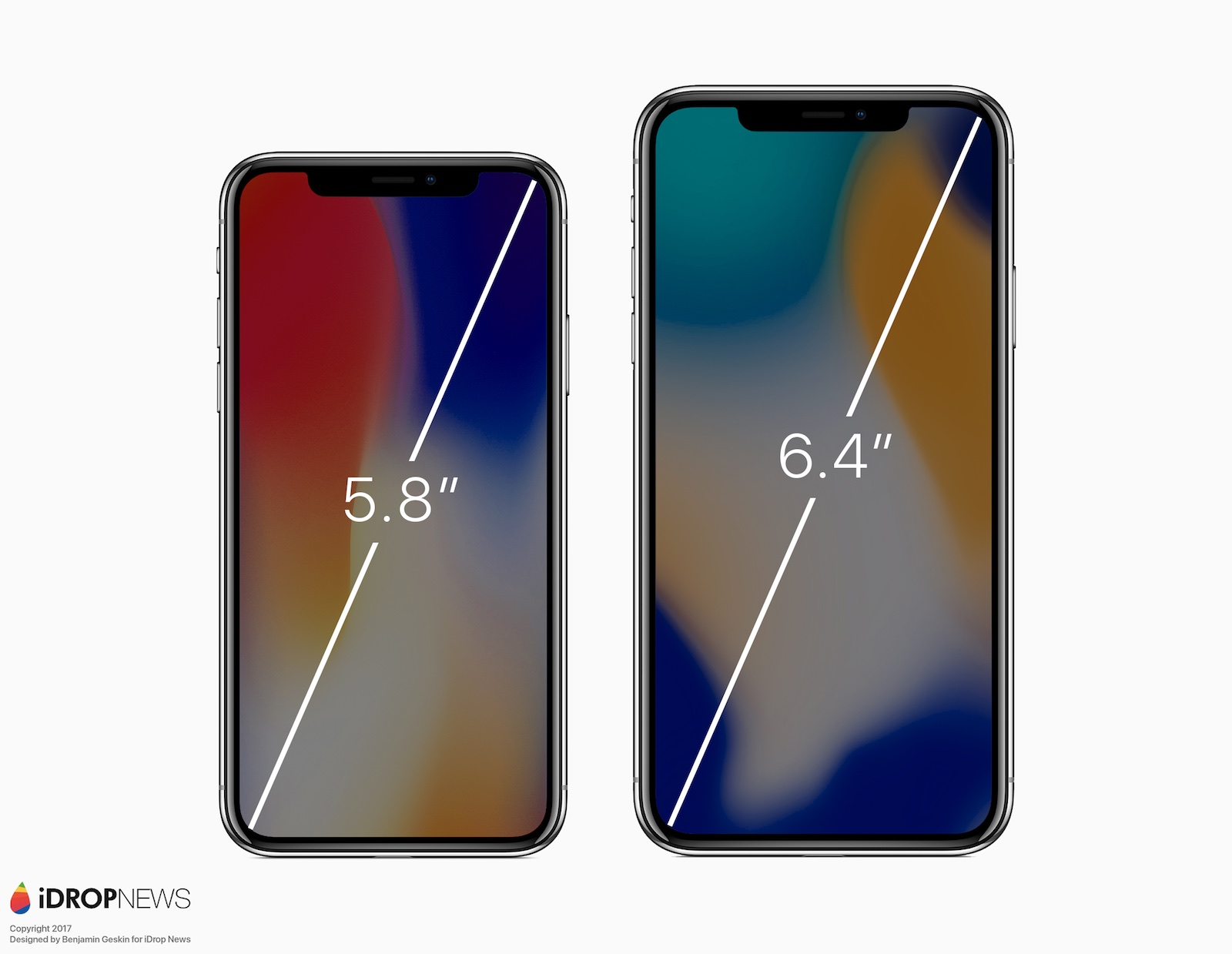iPhone X Plus render met afmetingen.
