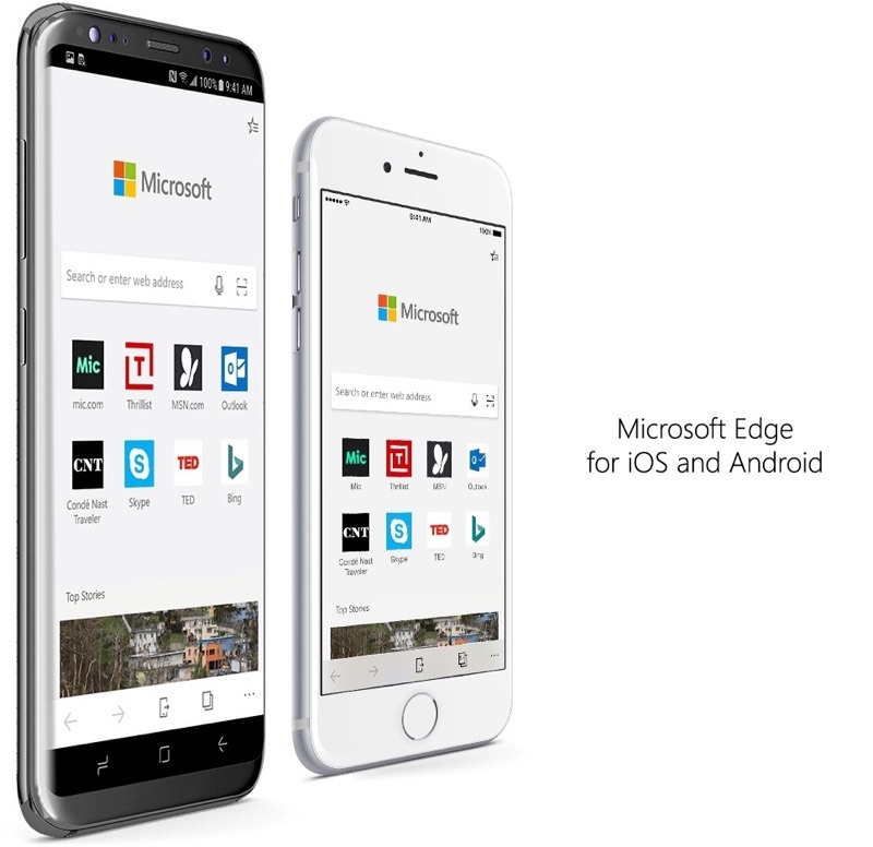 Microsoft Edge voor iPhone en Android.