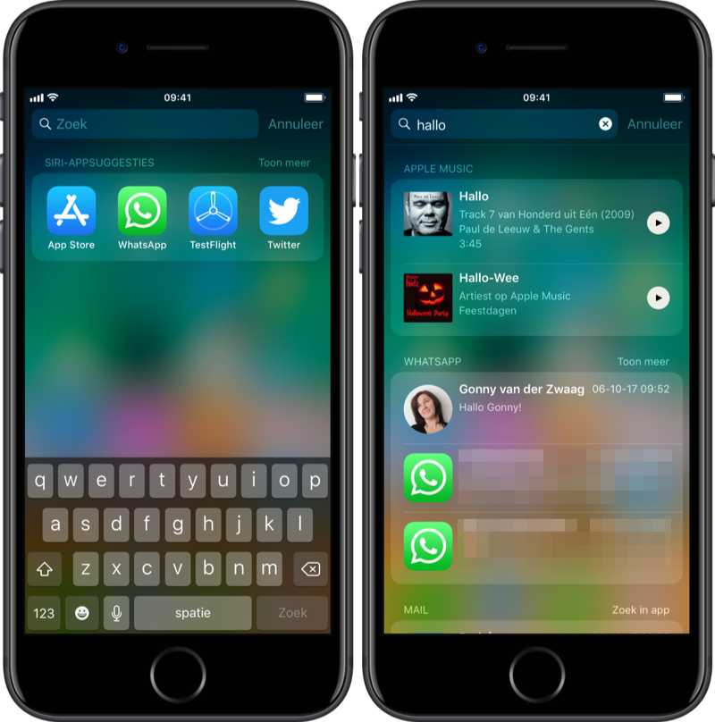WhatsApp zoeken in Spotlight.