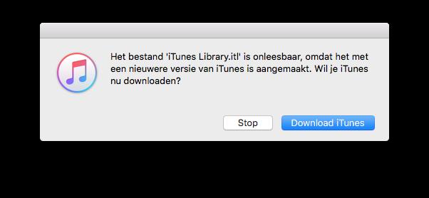 iTunes melding voor bibliotheek.
