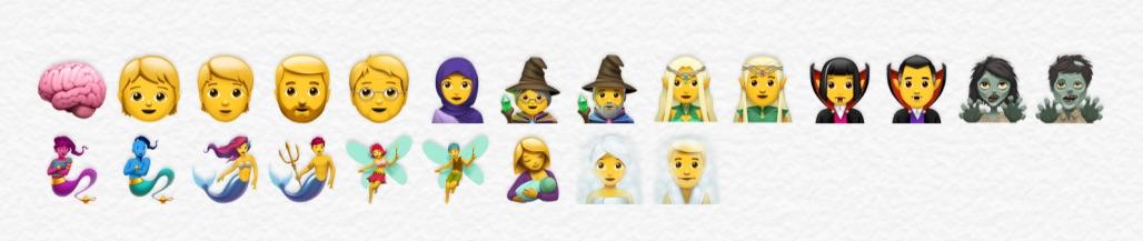 Mensen emoji's in iOS 11.1.