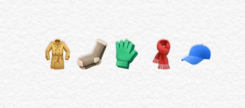 Kleding emoji's in iOS 11.1.