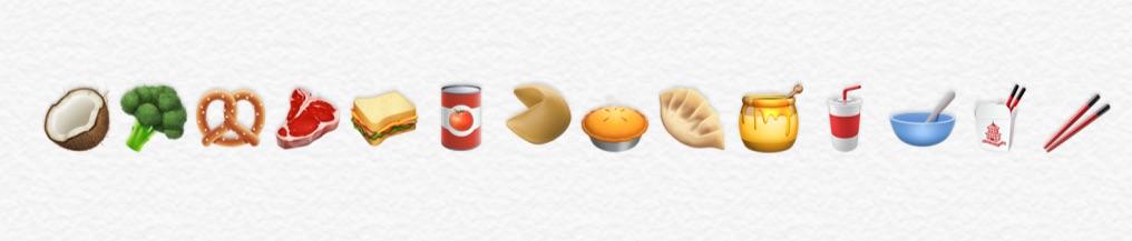Voedsel emoji's in iOS 11.1.