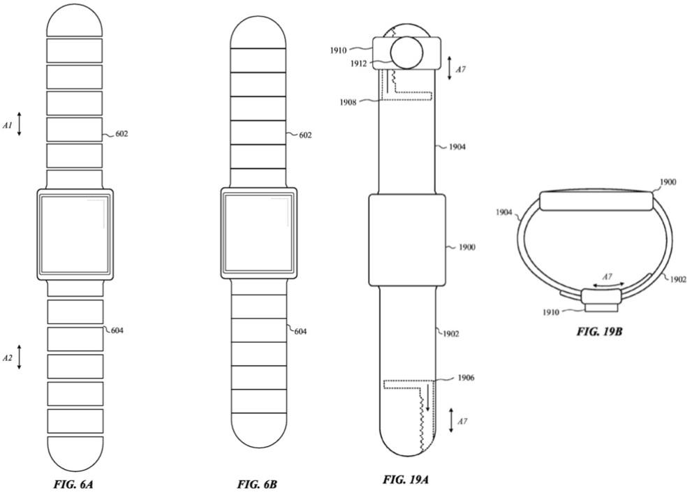 Patent van zelfcorrigerende Apple Watch-bandjes.