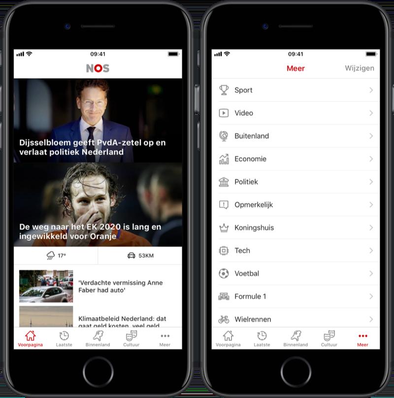 Nieuwe navigatie in NOS-app met knoppenbalk.