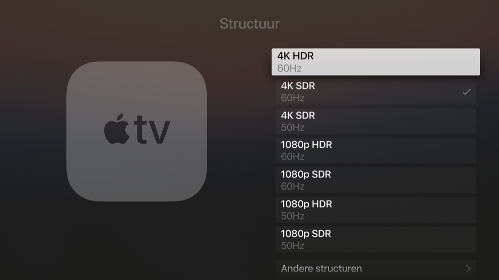 Beeldinstellingen voor Apple TV 4K.