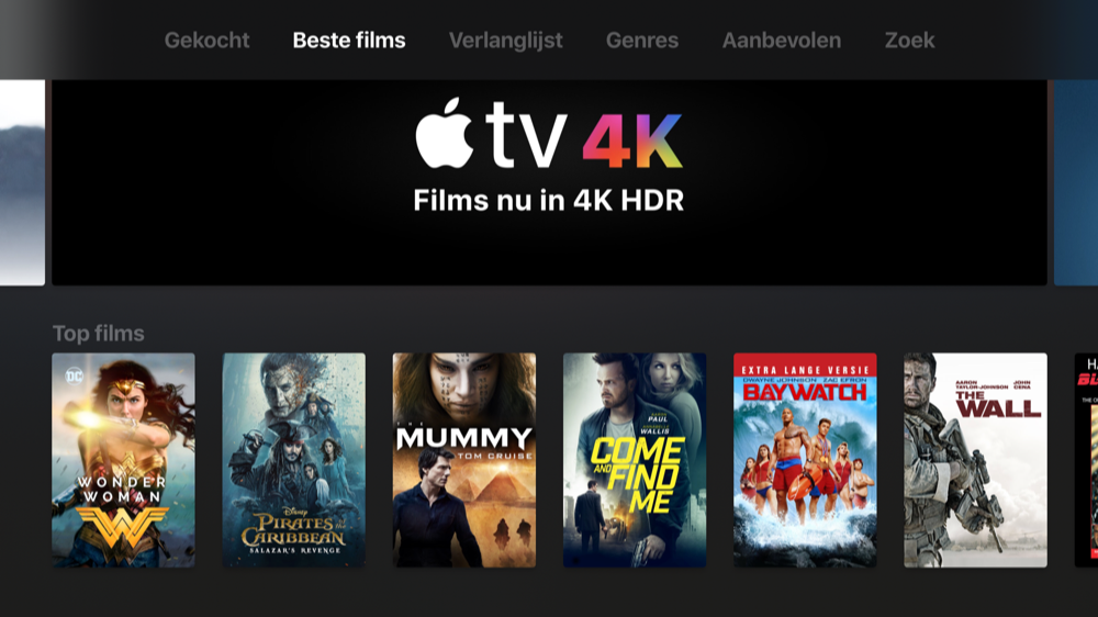 4K-films in iTunes op de Apple TV 4K.