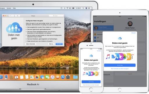Delen met gezin in iOS en macOS.
