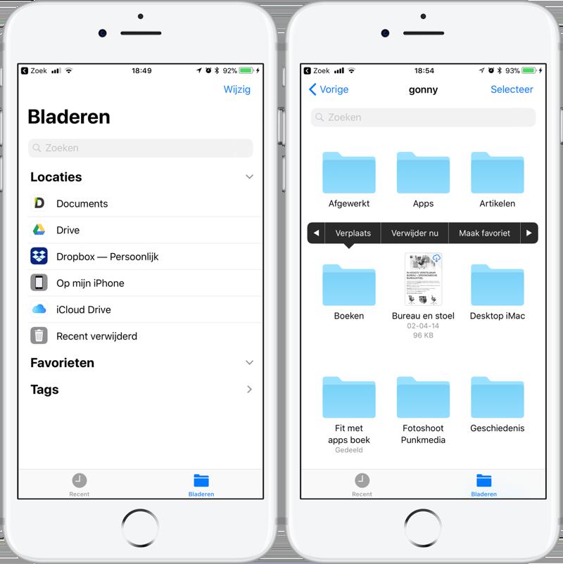 Favoriete mappen in Bestanden-app