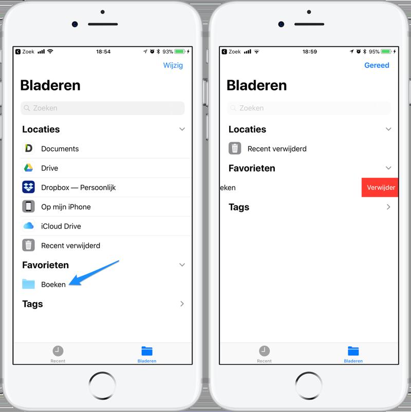 Bestanden-app favoriete mappen verwijderen