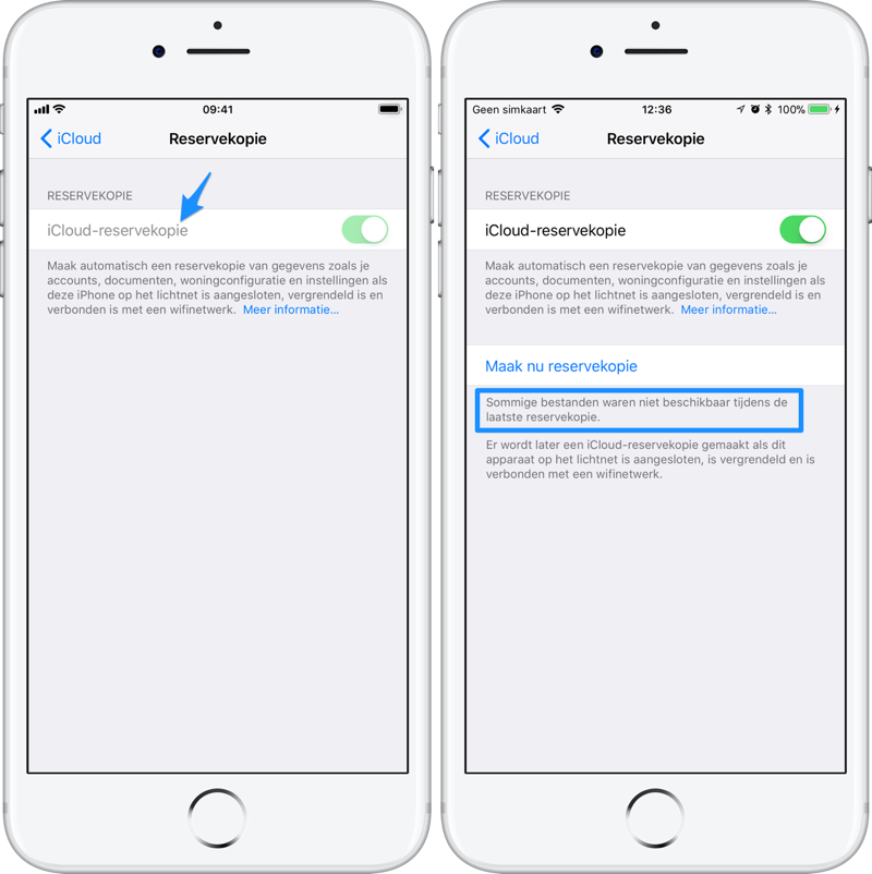 iCloud-backup mislukt