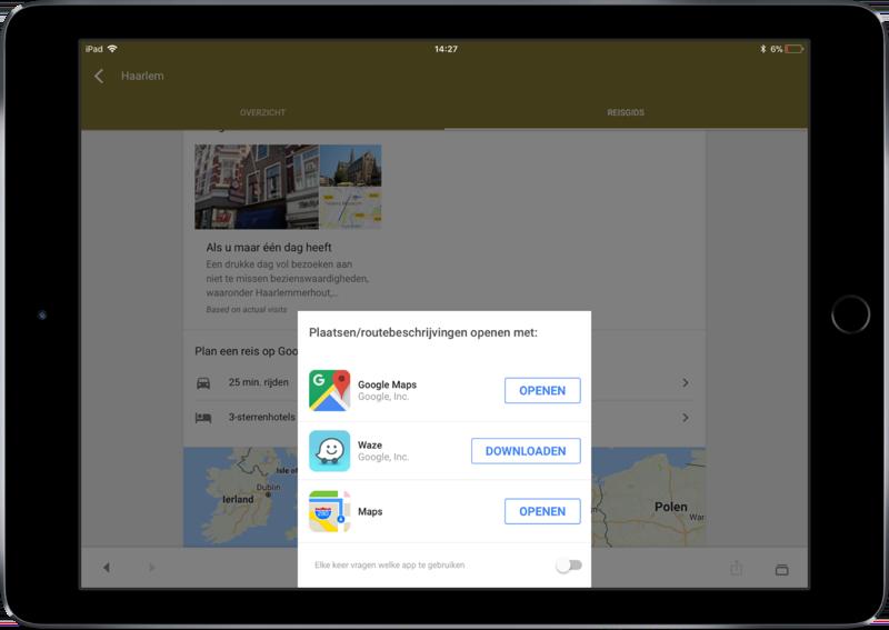 Navigeren vanuit de Google-app met Waze of Apple Kaarten.