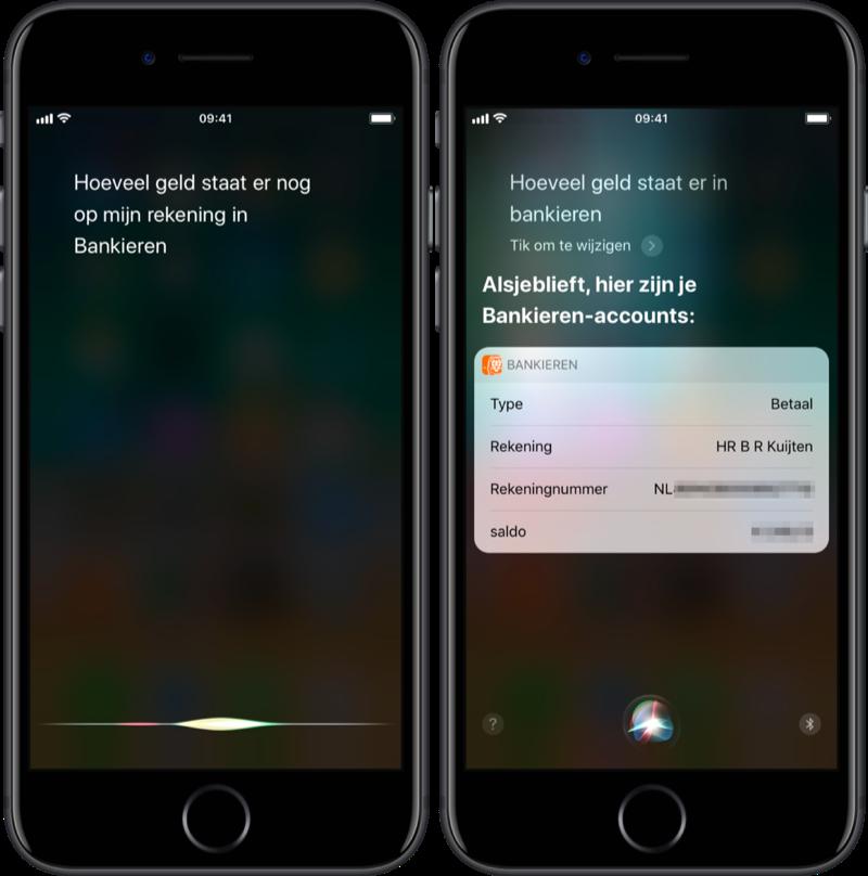 Saldo opvragen via Siri in ING Bankieren.