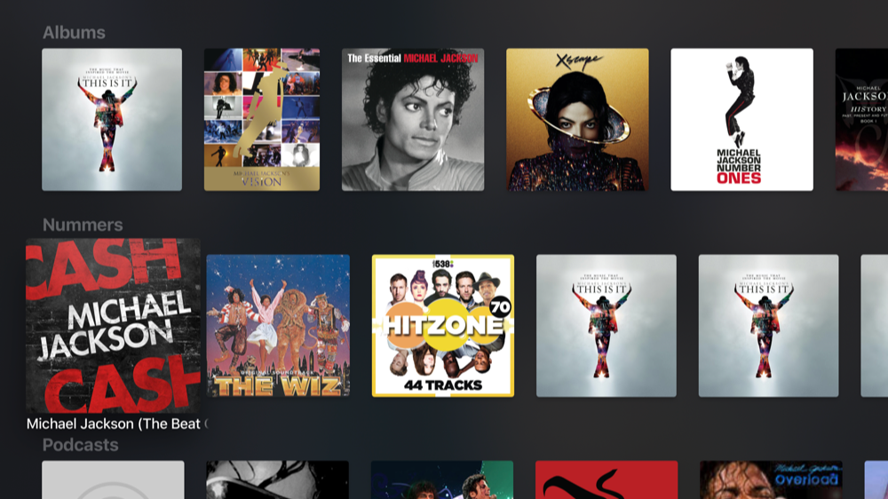 Zoek-app voor Apple Music op de Apple TV.