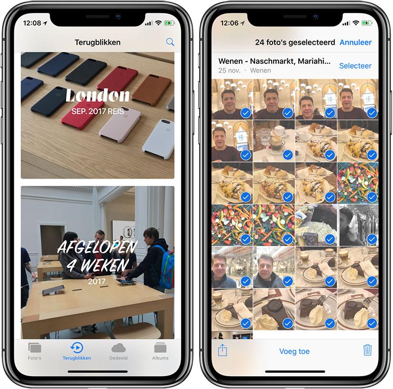Momenten selecteren Foto's-app