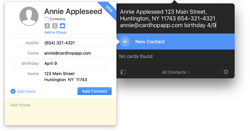 Nieuw contact toevoegen aan Cardhop.