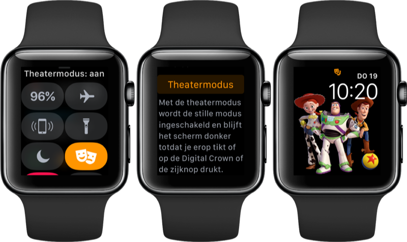 Theatermodus op de Apple Watch activeren.
