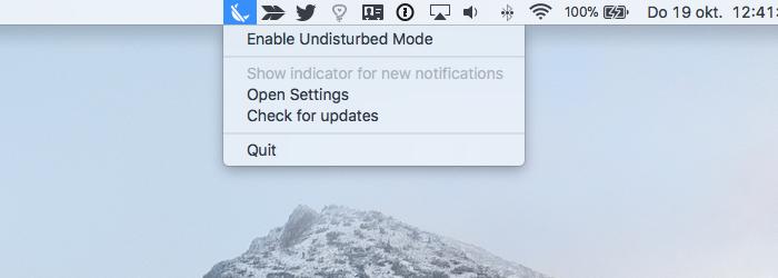 Undisturbed voor de Mac uit de menubalk.