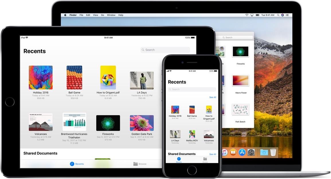 iCloud Drive voor Mac en iOS.
