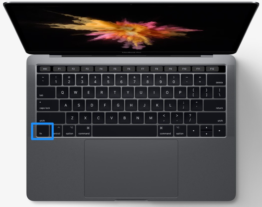 MacBook Pro met Touch Bar en functietoetsen.