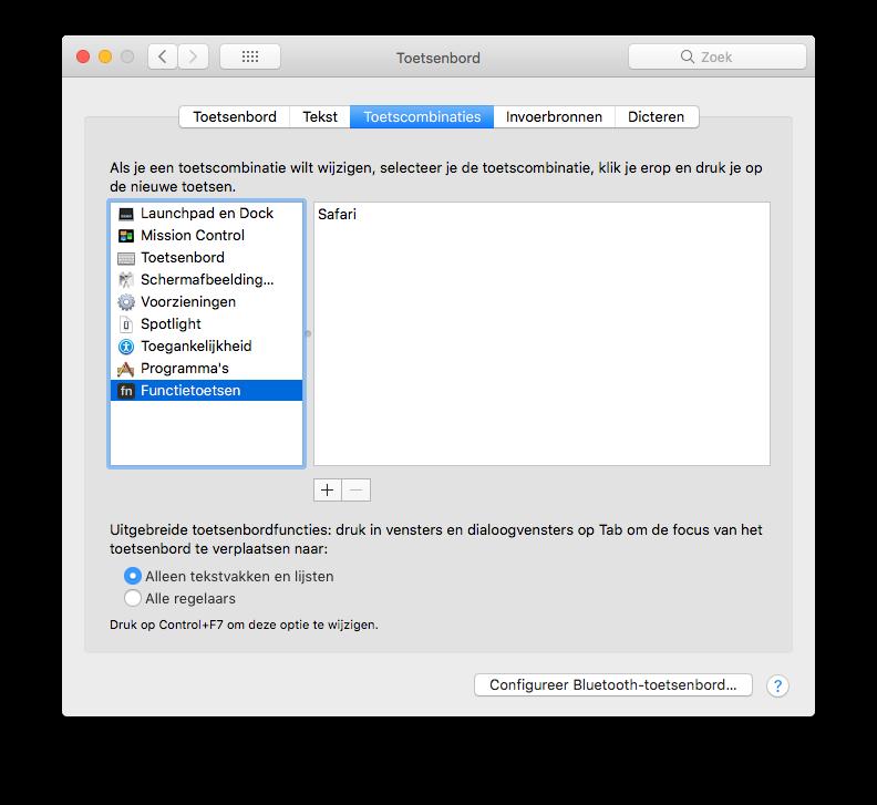 Functietoetsen op de MacBook Pro op Touch Bar instellen.