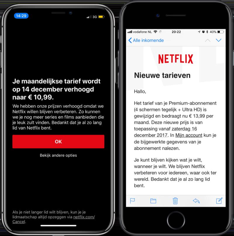 Netflix prijsverhoging voor bestaande klanten.