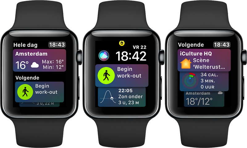 Siri-wijzerplaat in watchOS 5