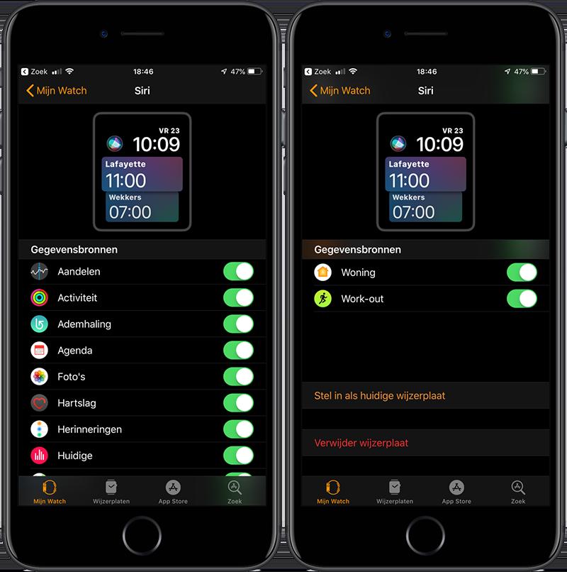 Siri wijzerplaat aanpassen op iPhone