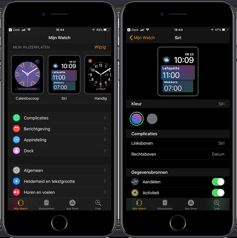 Siri wijzerplaat op iPhone aanpassen