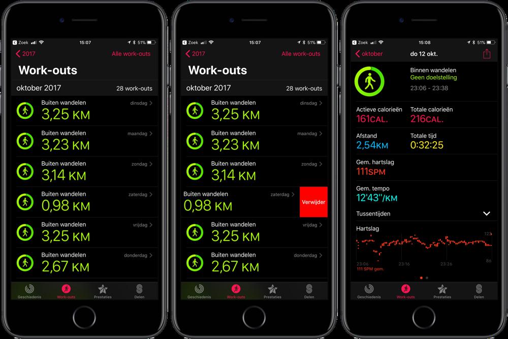 Workouts op iPhone bekijken