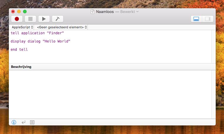 AppleScript code intikken