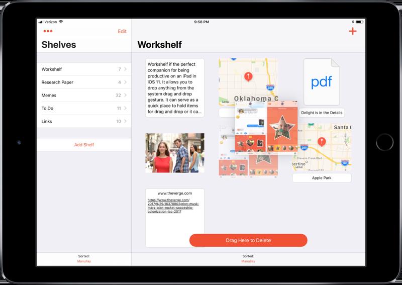 Workshelf op de iPad.