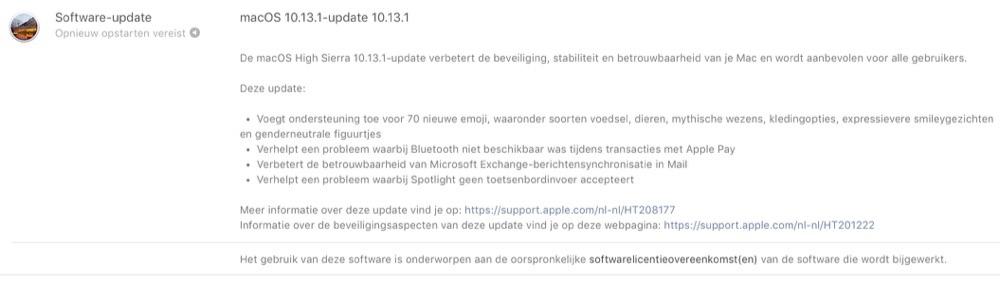 macOS High Sierra 10.13.1 releasenotes.