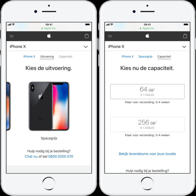 iPhone X levertijd
