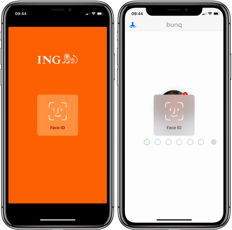 ING en bunq met Face ID op iPhone X.