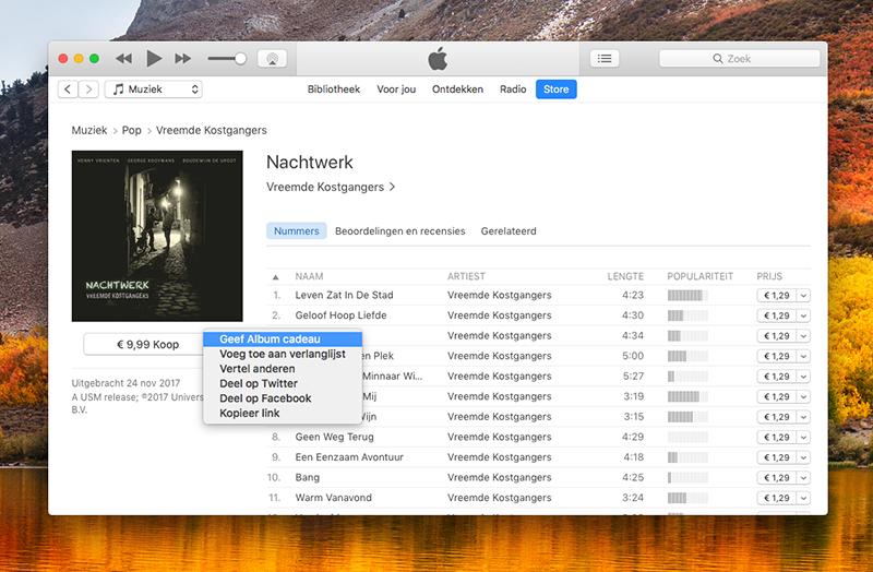Muziekcadeau iTunes