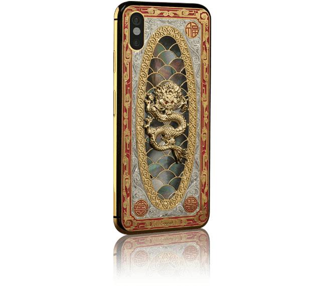 iPhone X met gouden draak
