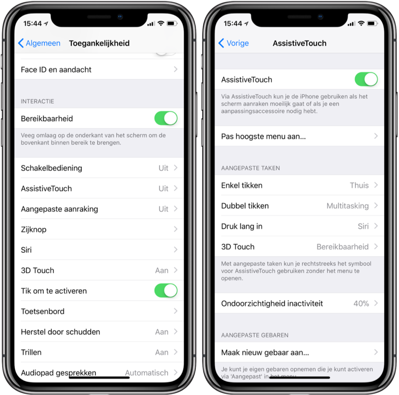 iPhone X met Assistive Touch als thuisknop instellen.